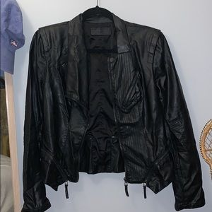 BLANKNYC Fitted Faux Leather Black Jacket - Medium